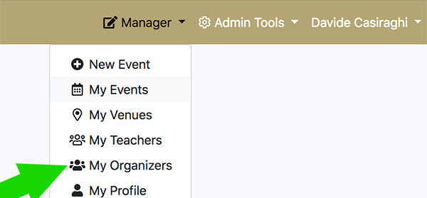 Manager > My Organizers